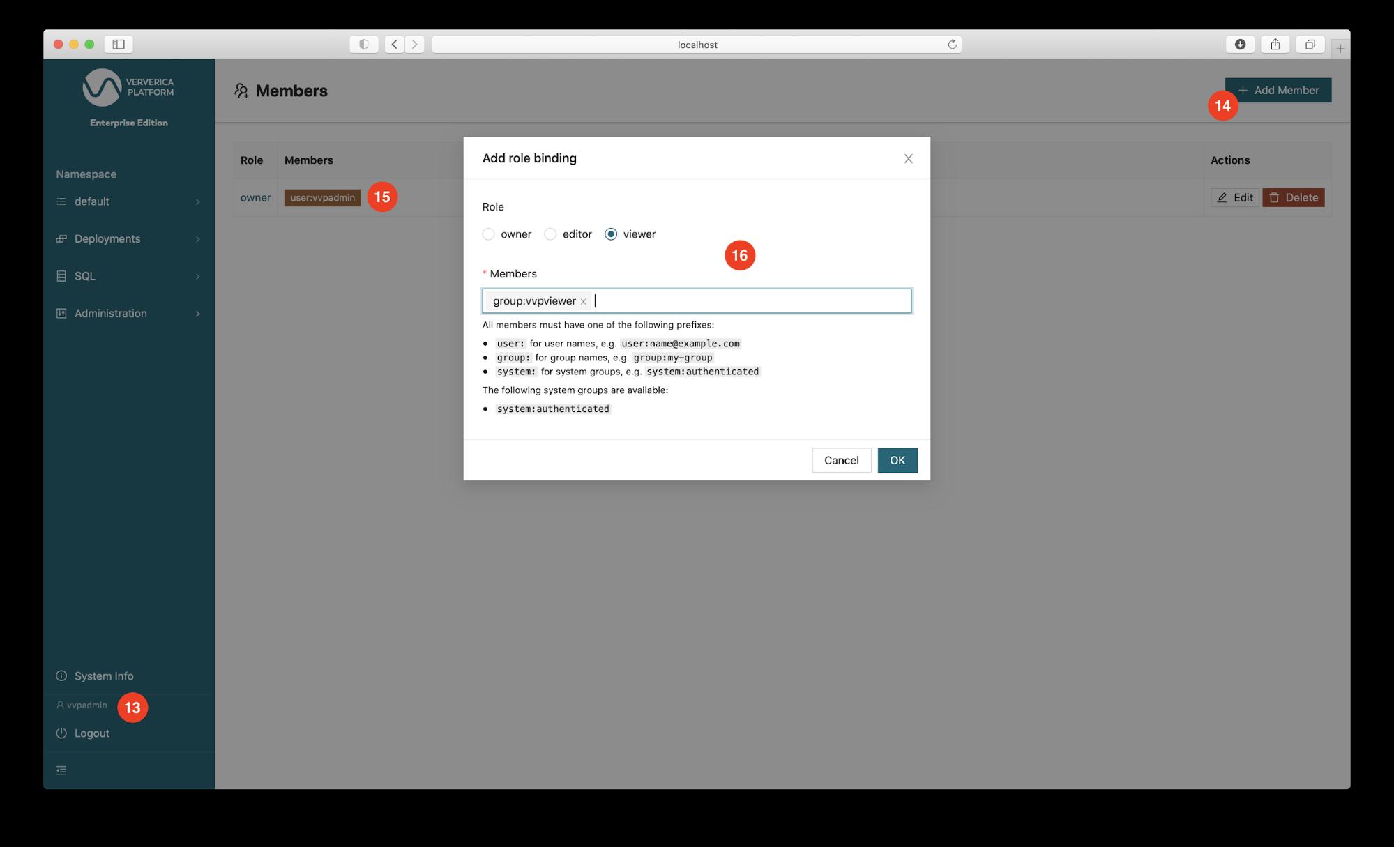 Add role binding, Ververica Platform