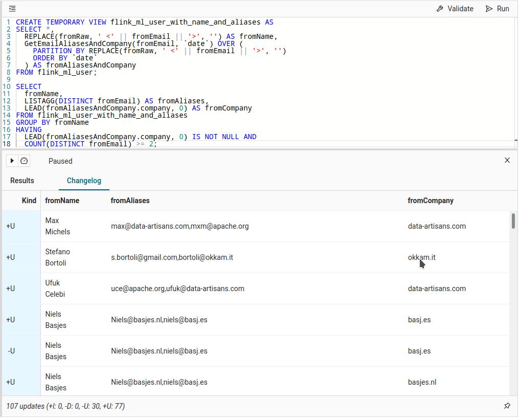 Apache Flink SQL example - Ververica Platform - SQL Optimization