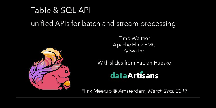 Table & SQL API – unified APIs for batch and stream processing