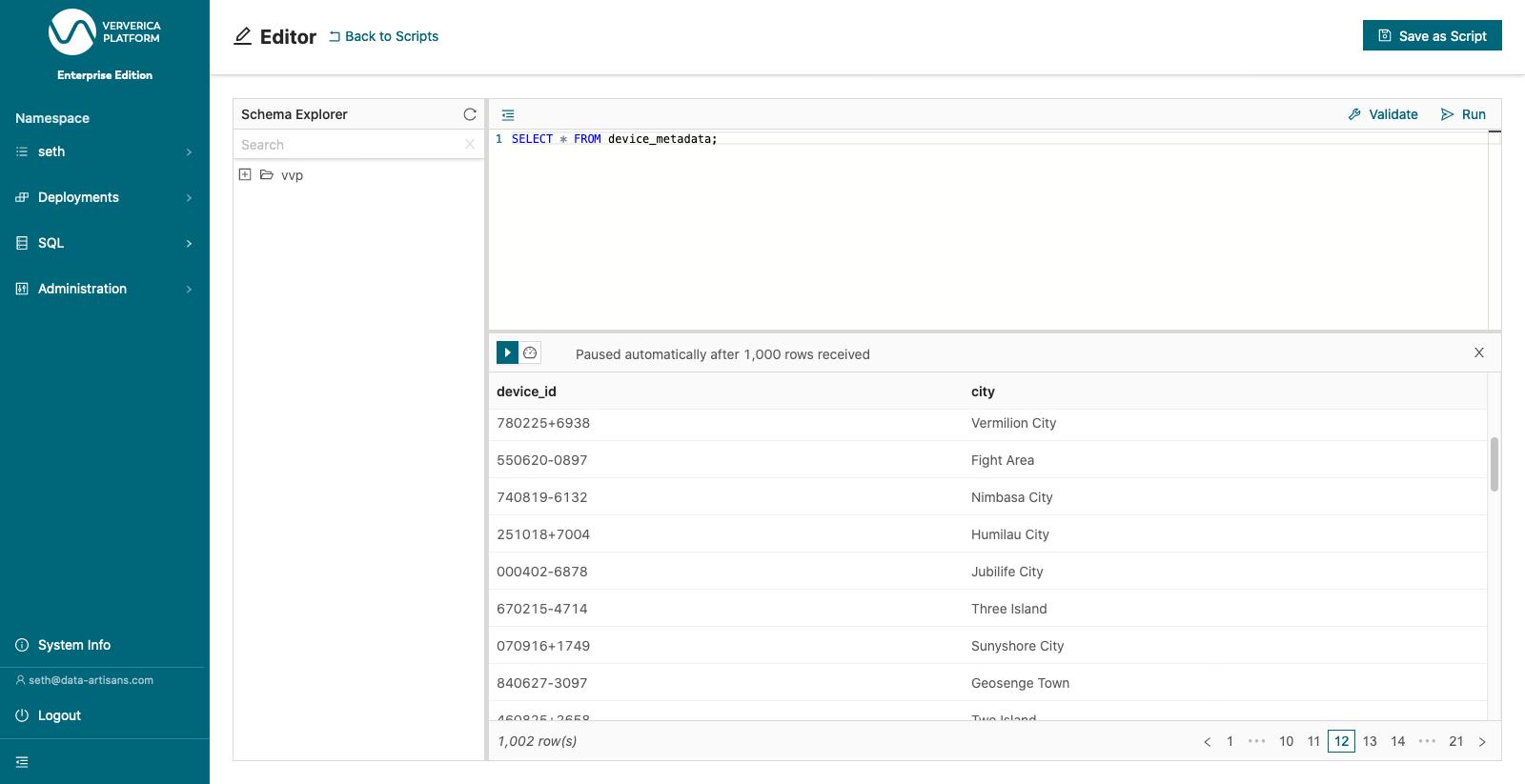 Execute a SELECT query over device_metadata