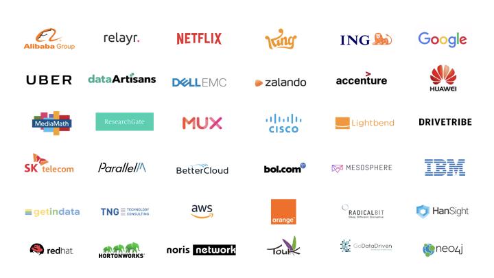Logos of companies represented at Flink Forward events in 2017
