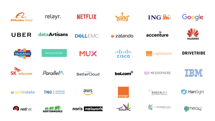 Logos of companies represented at Flink Forward events in 2017