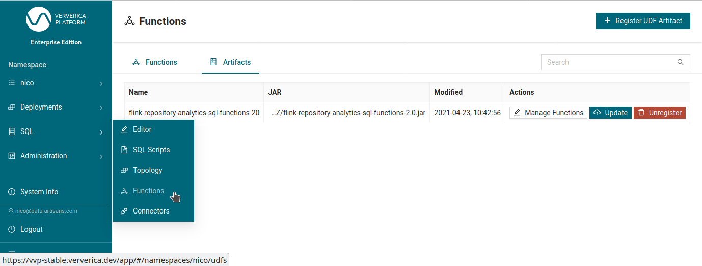 Register UDF Artifact-Ververica Platform-Apache Flink