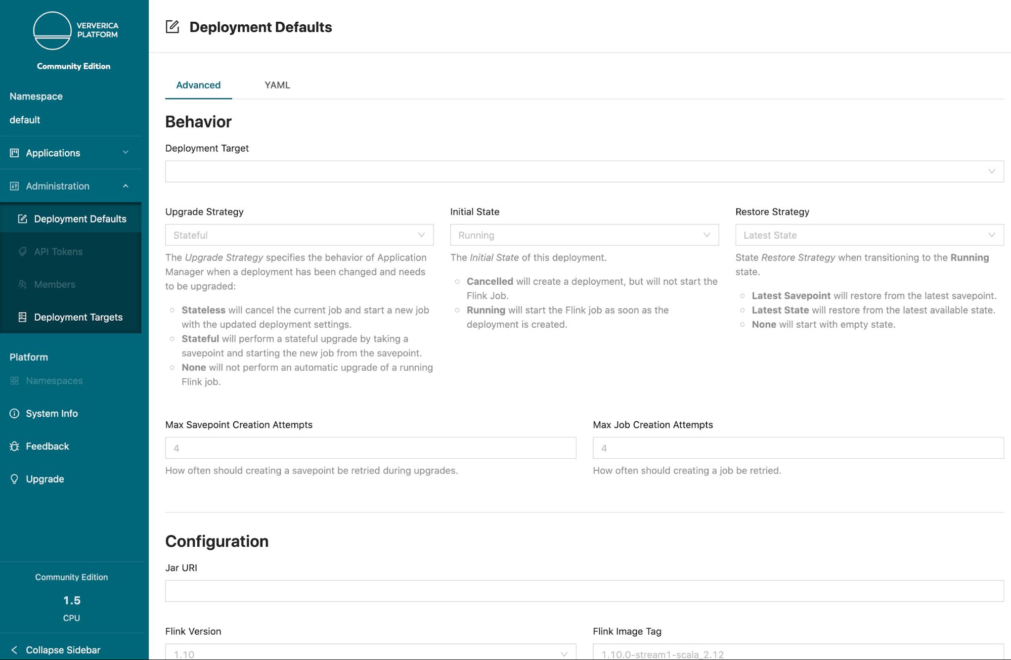 Ververica Platform Community Edition, Deployment Defaults, Flink deployments, Kubernetes, Flink on K8s