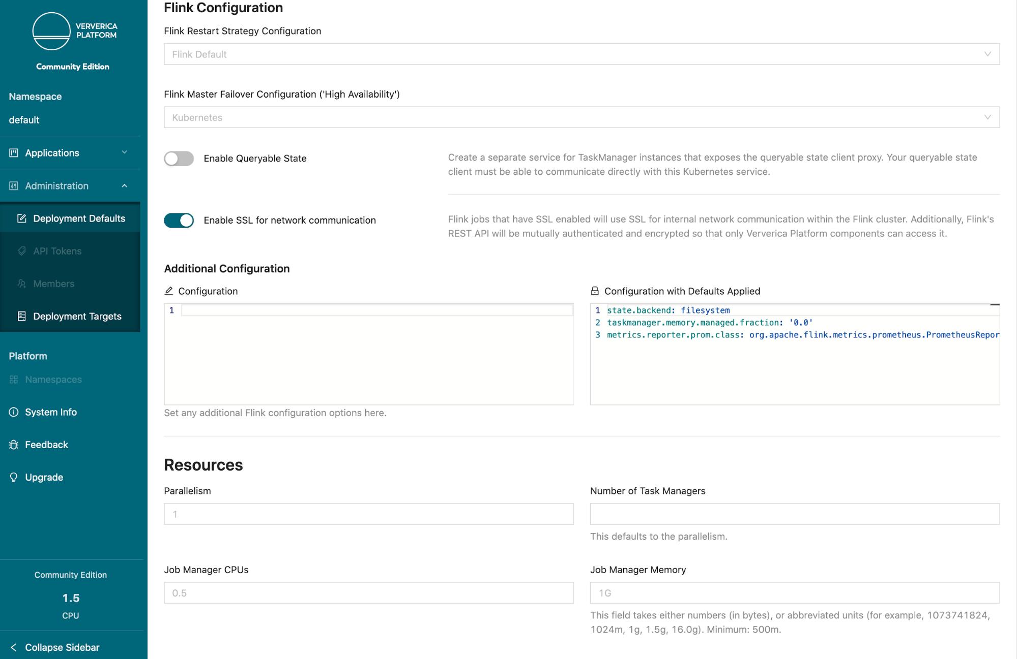 Ververica Platform Community Edition, Flink Configuration, Flink deployment, Kubernetes, Flink on K8s