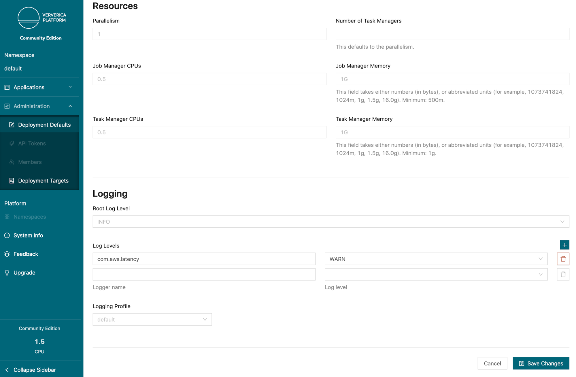 Ververica Platform Community Edition, Flink Resources, Flink deployments, Kubernetes, Flink on K8s