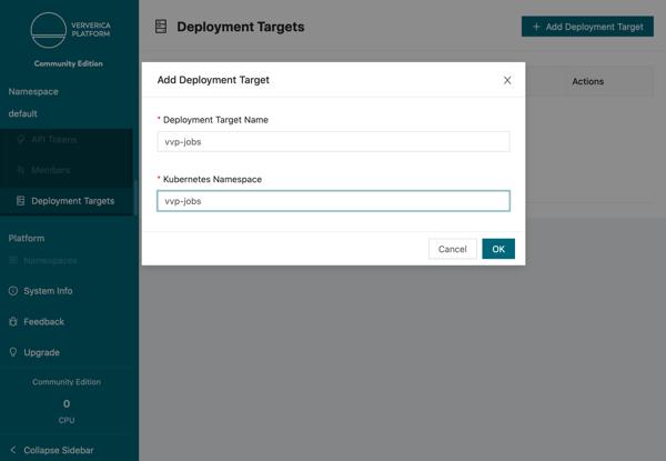 Ververica Platform Community Edition, add deployment target, Flink deployments, Kubernetes, K8s, Flink