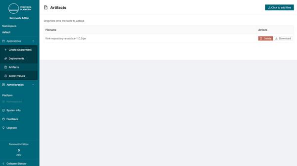 Ververica Platform, Community Edition, user code upload, jr file, kubernetes namespace