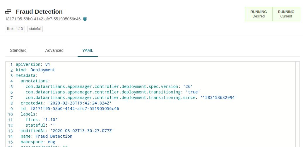 Ververica Platform, Fraud Detection, Apache Flink, YAML-1