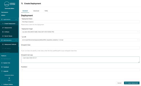 Ververica Platform, community edition, flink, create deployment, apache flink