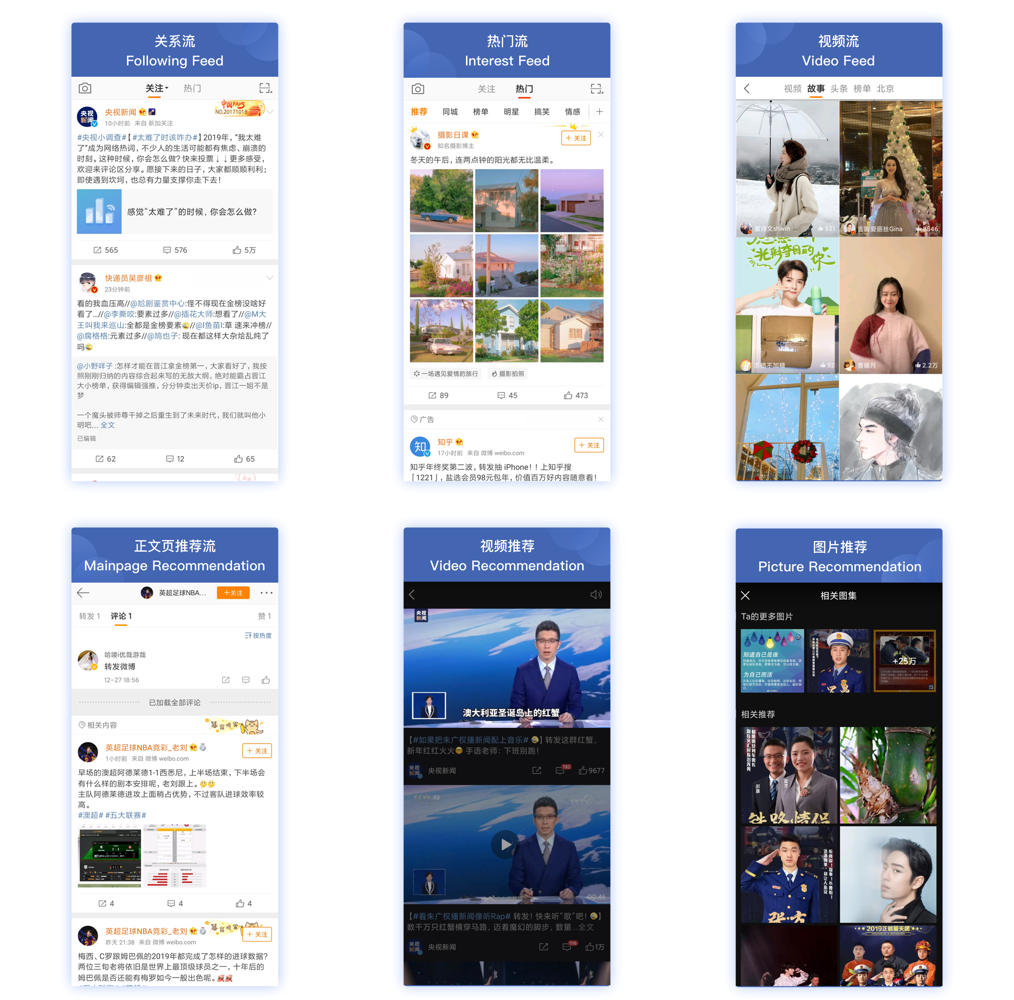 Weibo Functionality, Following Feed, Video Feed, Video Recommendation, Picture Recommendation and more