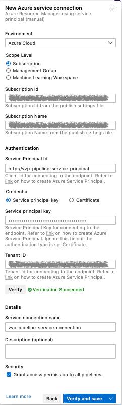 New Azure Service Connection, Azure pipelines, Ververica Platform, Microsoft Azure